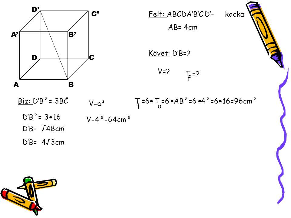 Felt: ABCDA'B'C'D'- kocka AB= 4cm