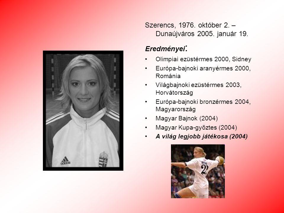 Szerencs, 1976. október 2. – Dunaújváros 2005. január 19. Eredményei: