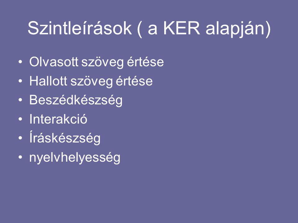 Szintleírások ( a KER alapján)