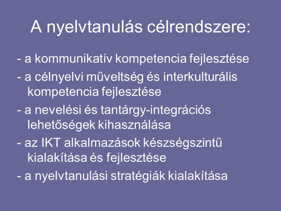 A nyelvtanulás célrendszere: