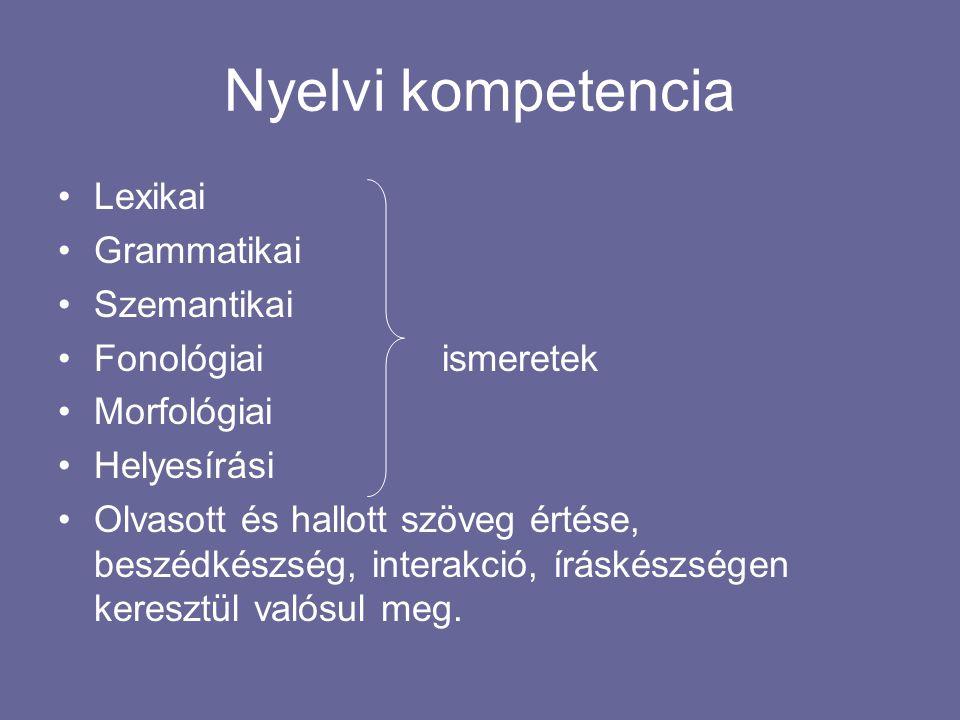 Nyelvi kompetencia Lexikai Grammatikai Szemantikai