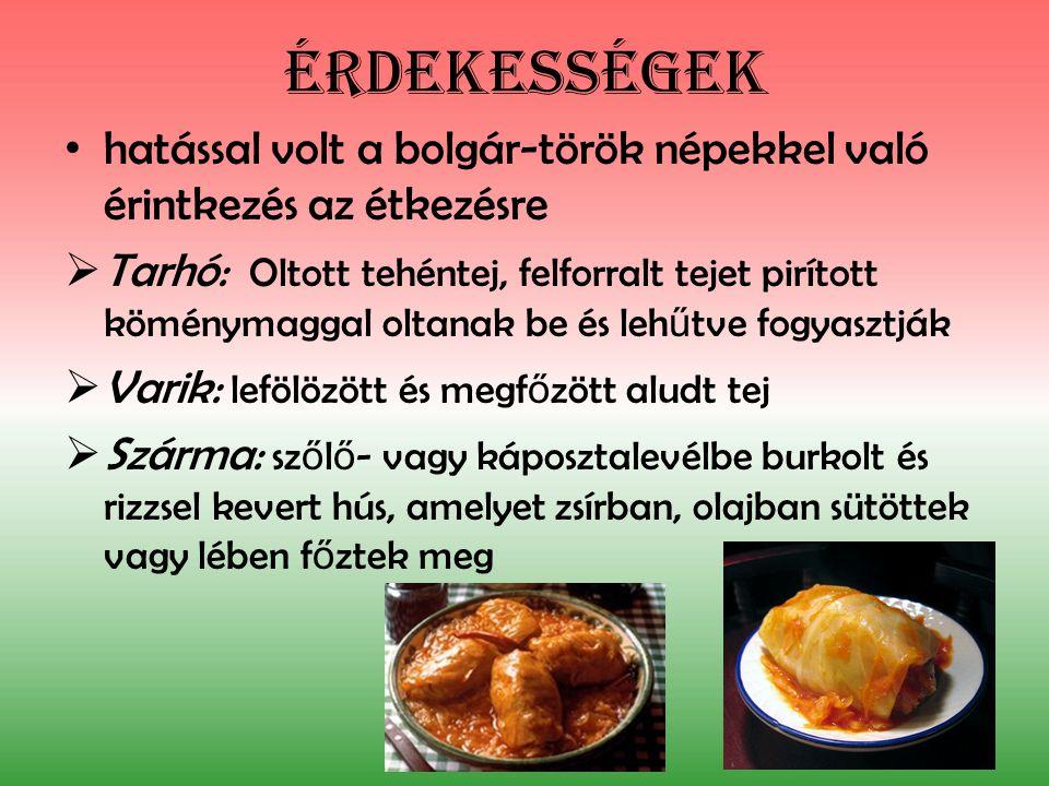 Érdekességek hatással volt a bolgár-török népekkel való érintkezés az étkezésre.