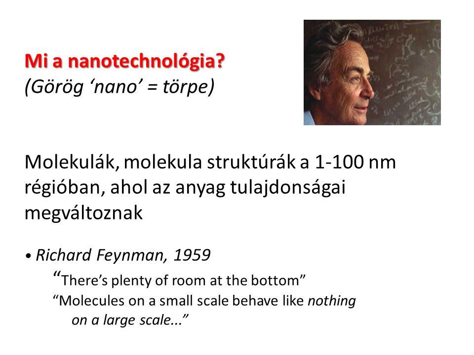 Mi a nanotechnológia (Görög 'nano' = törpe) Molekulák, molekula struktúrák a 1-100 nm régióban, ahol az anyag tulajdonságai megváltoznak • Richard Feynman, 1959 There's plenty of room at the bottom Molecules on a small scale behave like nothing on a large scale...