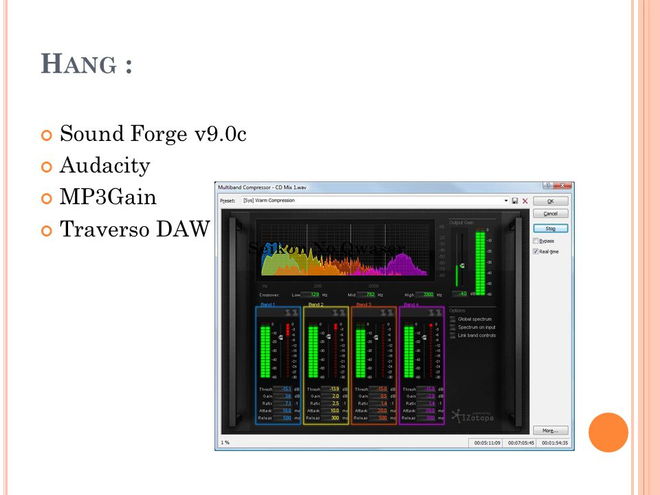 Hang : Sound Forge v9.0c Audacity MP3Gain Traverso DAW