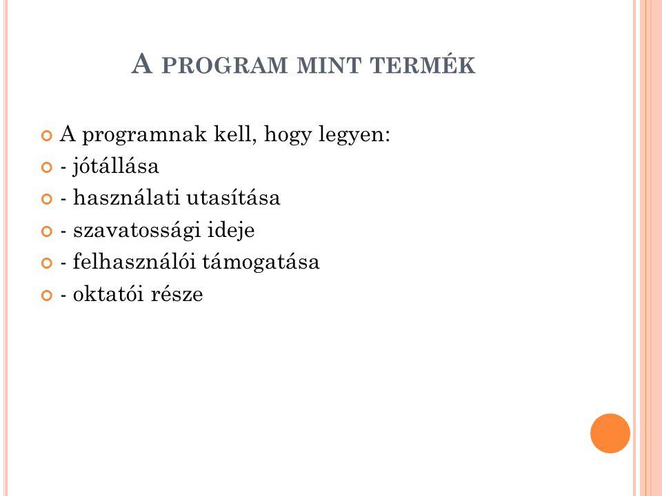 A program mint termék A programnak kell, hogy legyen: - jótállása