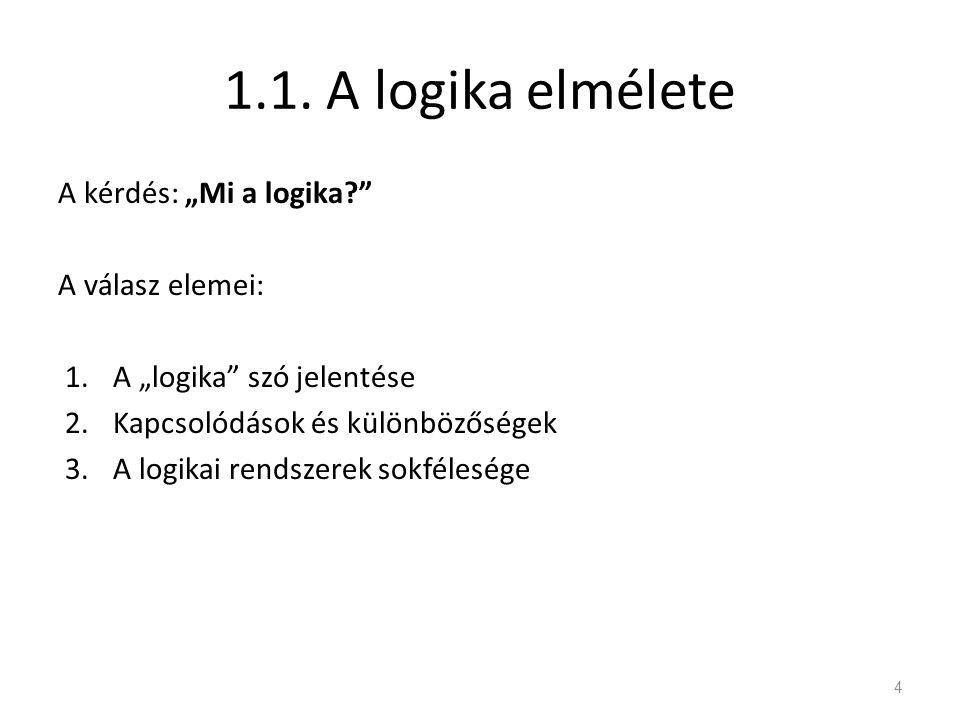 """1.1. A logika elmélete A kérdés: """"Mi a logika A válasz elemei:"""