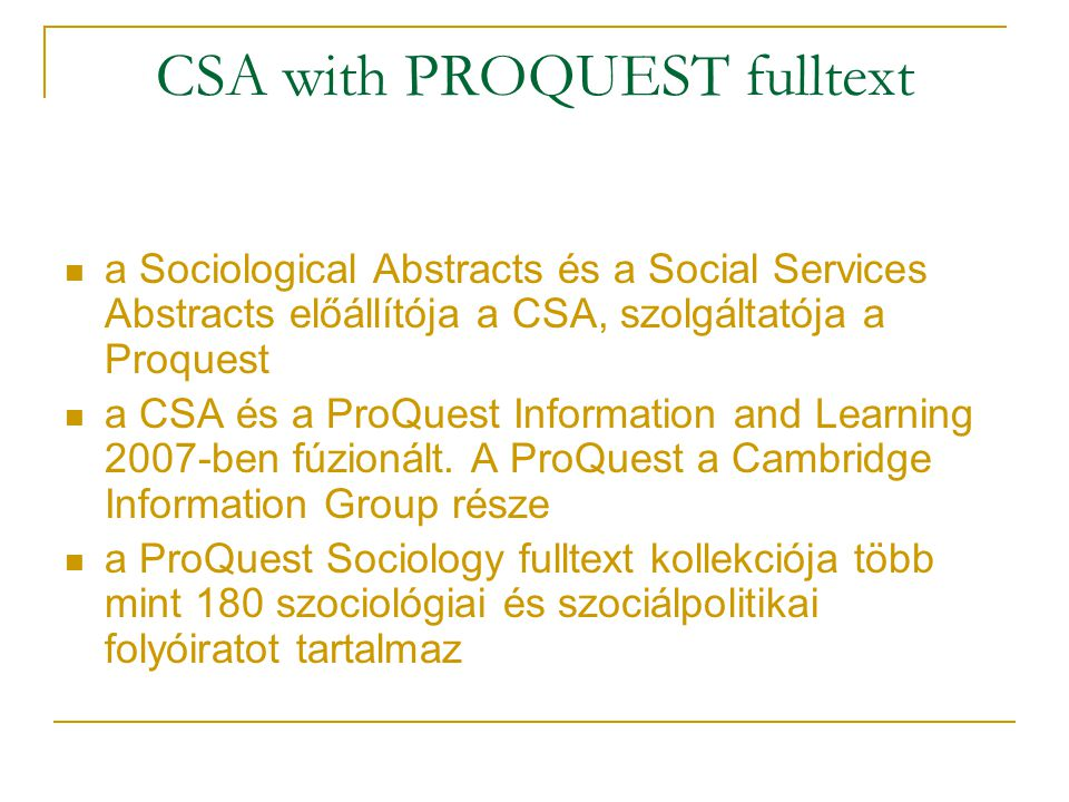 CSA with PROQUEST fulltext