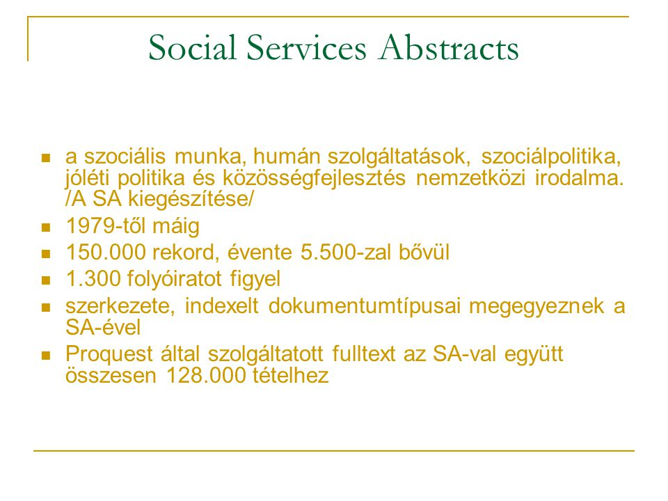 Social Services Abstracts