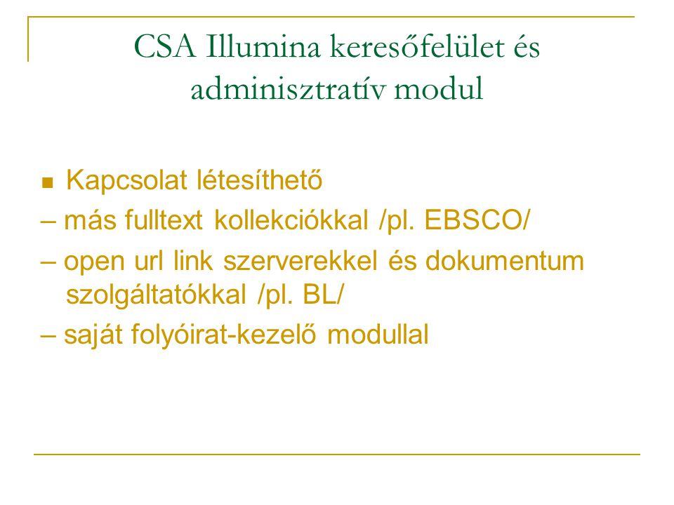 CSA Illumina keresőfelület és adminisztratív modul