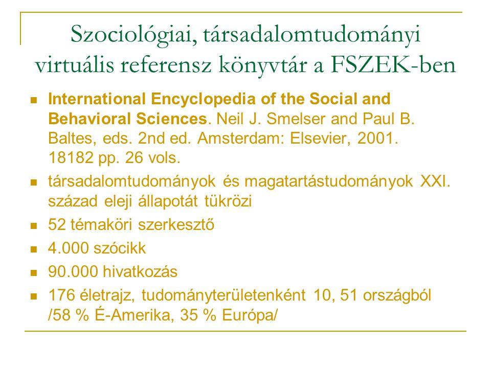 Szociológiai, társadalomtudományi virtuális referensz könyvtár a FSZEK-ben