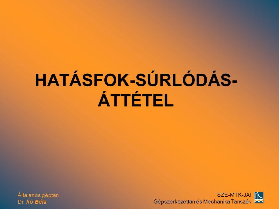 HATÁSFOK-SÚRLÓDÁS-ÁTTÉTEL