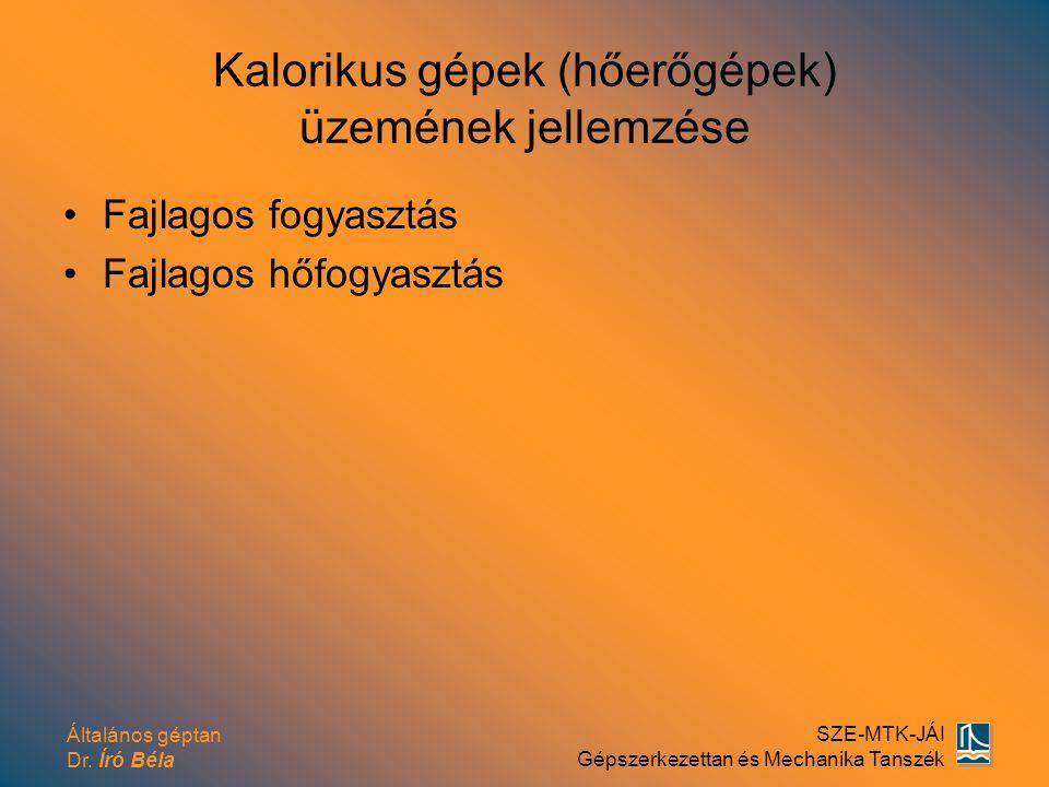 Kalorikus gépek (hőerőgépek) üzemének jellemzése