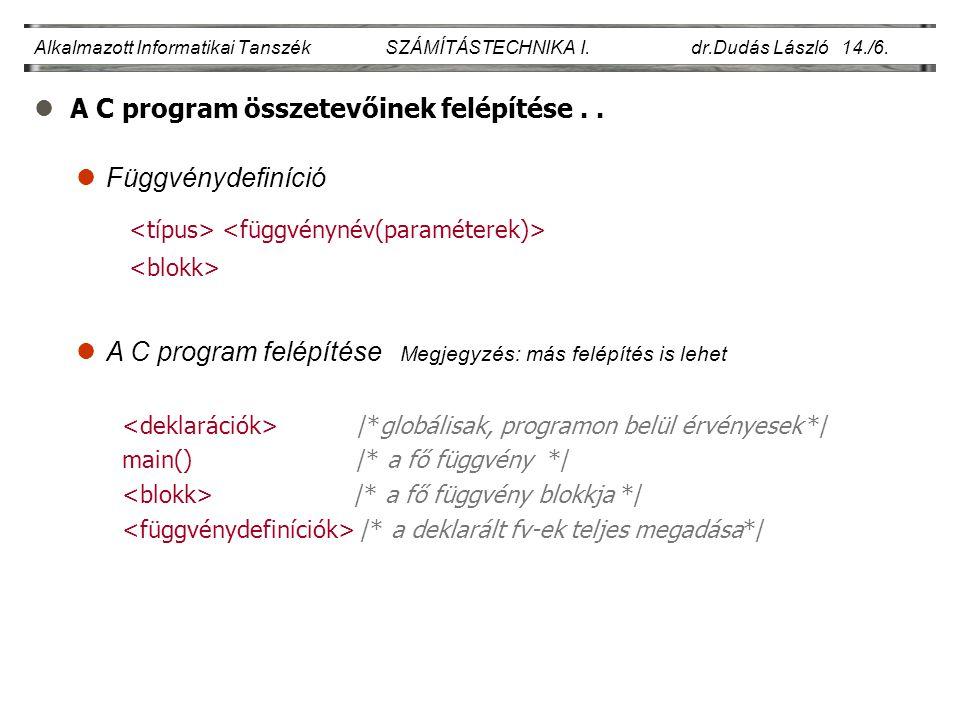 A C program összetevőinek felépítése . .