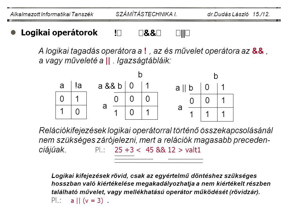 Alkalmazott Informatikai Tanszék SZÁMÍTÁSTECHNIKA I. dr