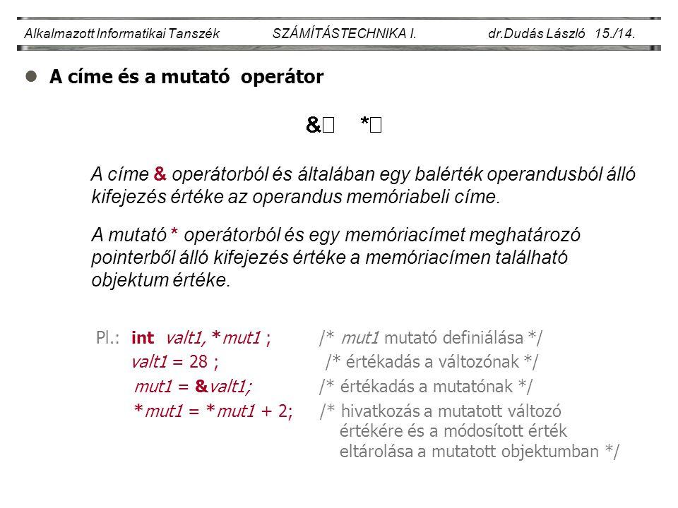 A címe és a mutató operátor