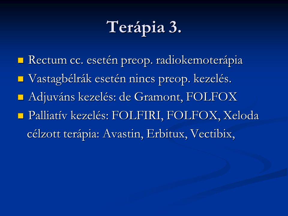 Terápia 3. Rectum cc. esetén preop. radiokemoterápia