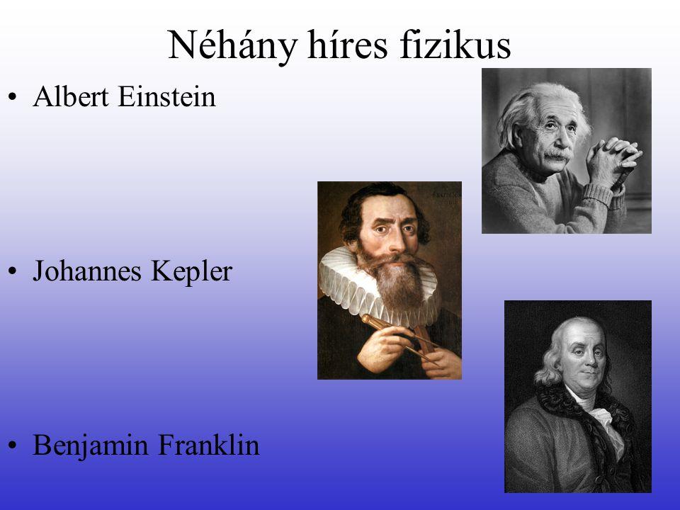 Néhány híres fizikus Albert Einstein Johannes Kepler Benjamin Franklin