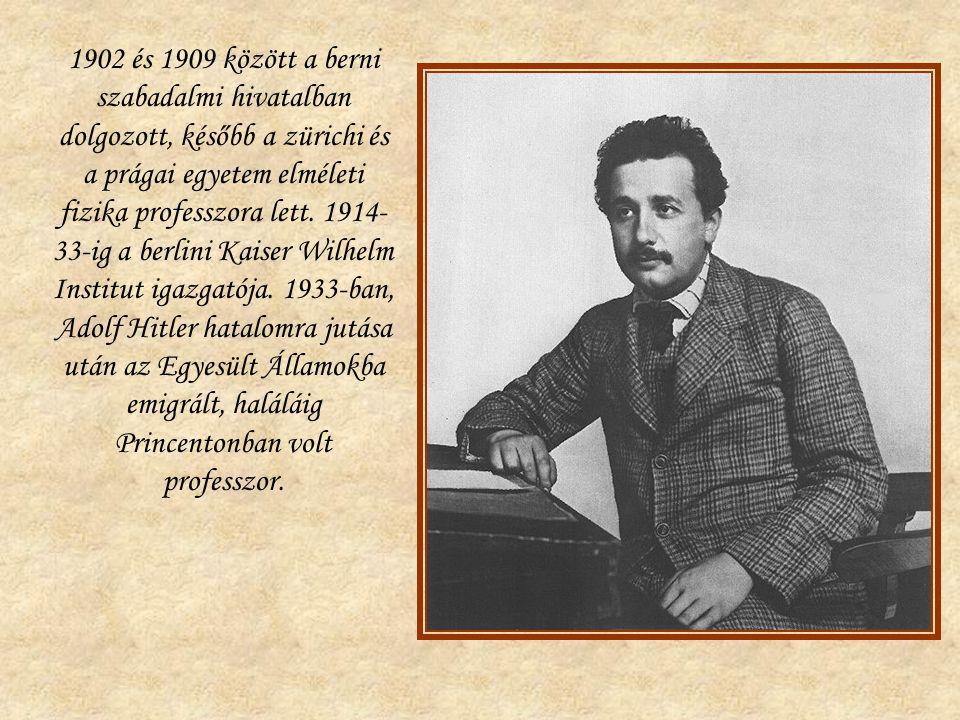 1902 és 1909 között a berni szabadalmi hivatalban dolgozott, később a zürichi és a prágai egyetem elméleti fizika professzora lett.