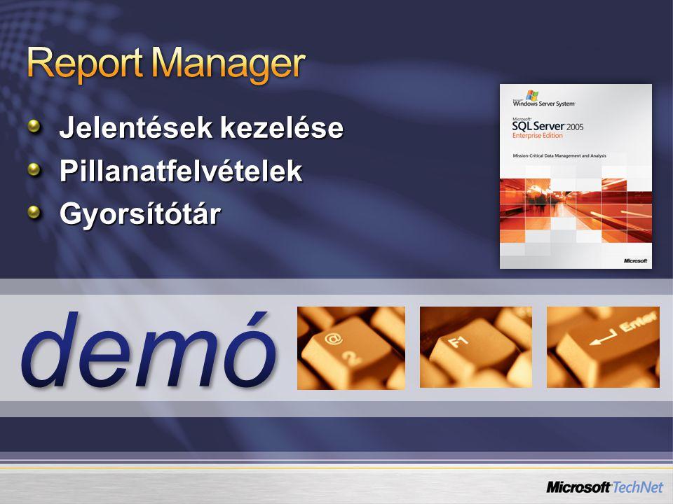 Report Manager Jelentések kezelése Pillanatfelvételek Gyorsítótár demó