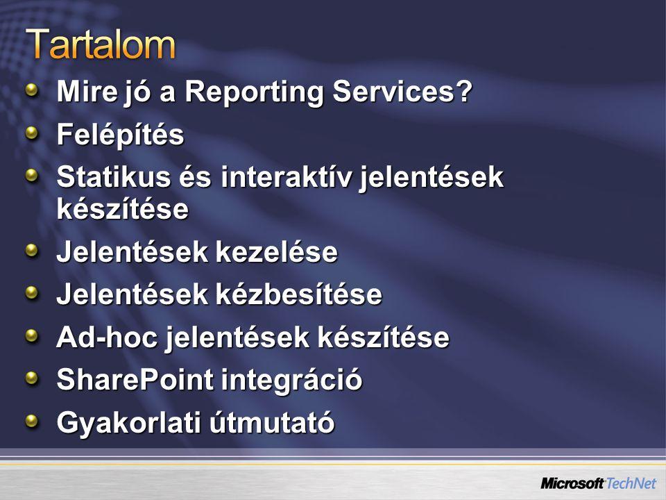 Tartalom Mire jó a Reporting Services Felépítés