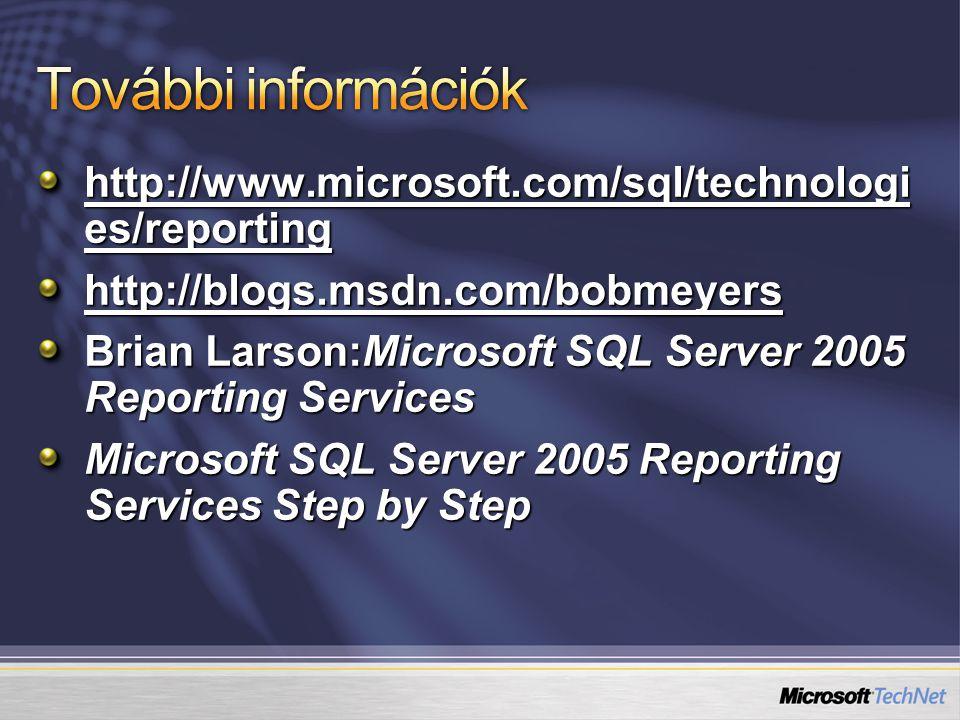 További információk http://www.microsoft.com/sql/technologies/reporting. http://blogs.msdn.com/bobmeyers.