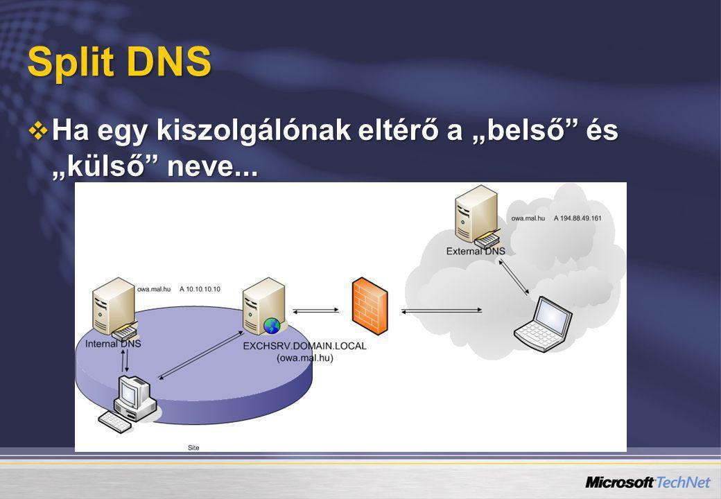 """Split DNS Ha egy kiszolgálónak eltérő a """"belső és """"külső neve..."""