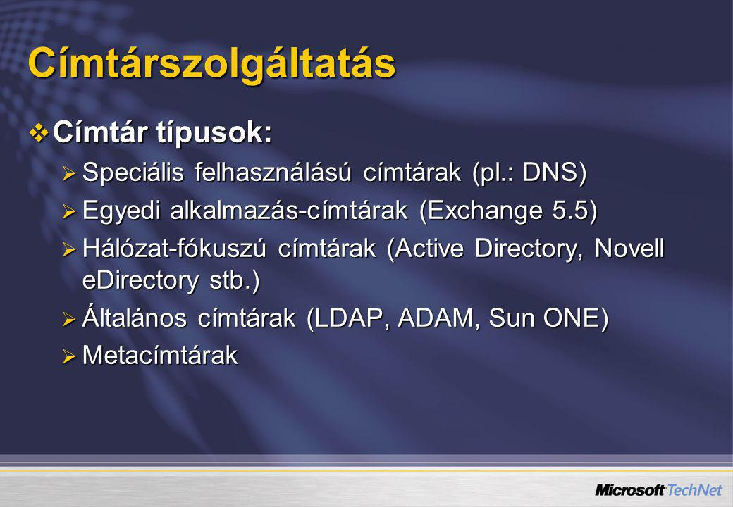 Címtárszolgáltatás Címtár típusok: