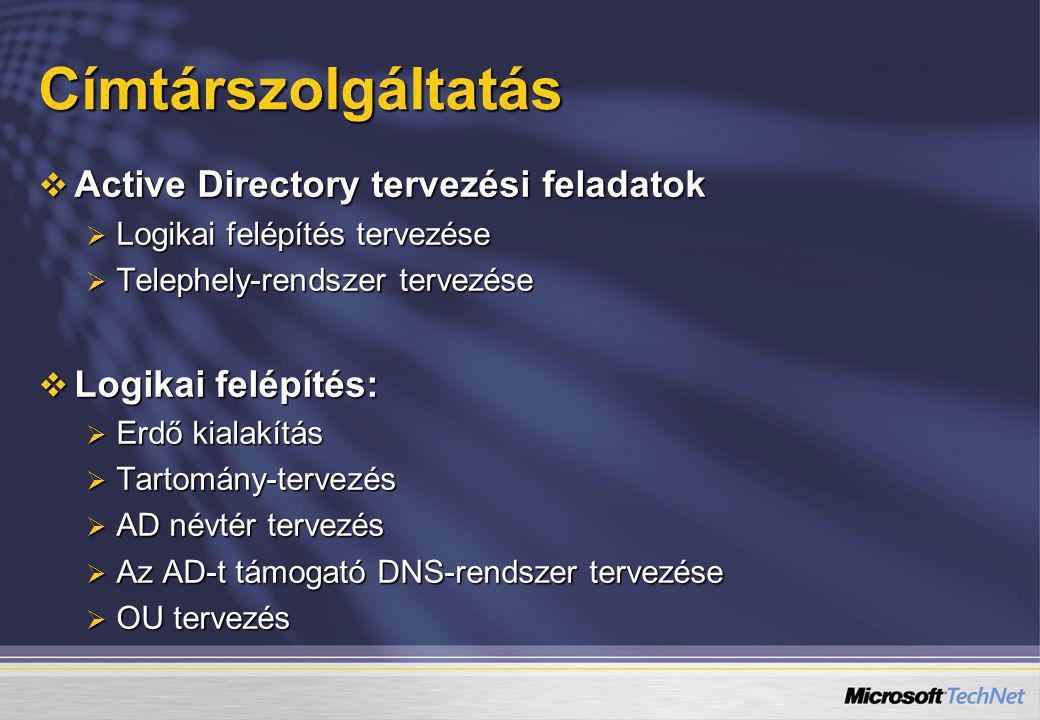 Címtárszolgáltatás Active Directory tervezési feladatok