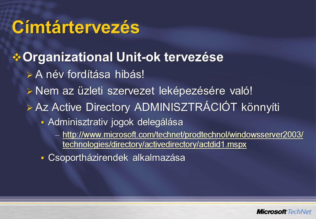 Címtártervezés Organizational Unit-ok tervezése A név fordítása hibás!