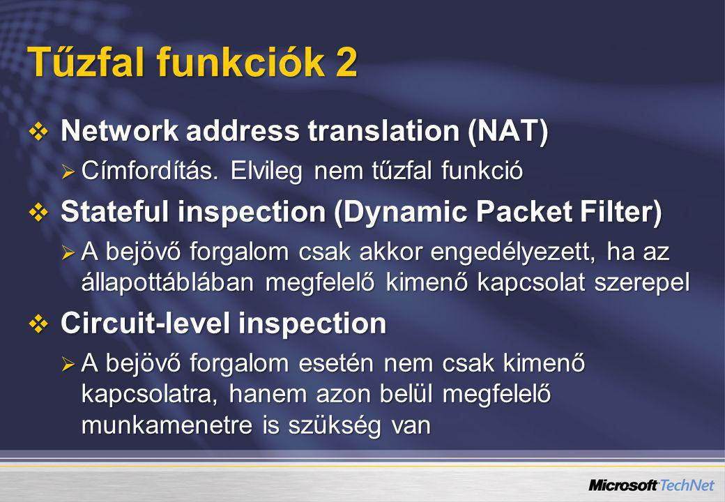 Tűzfal funkciók 2 Network address translation (NAT)