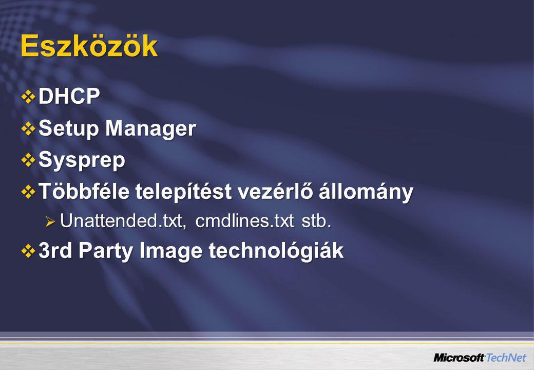 Eszközök DHCP Setup Manager Sysprep