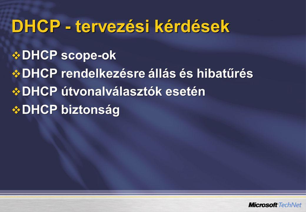 DHCP - tervezési kérdések