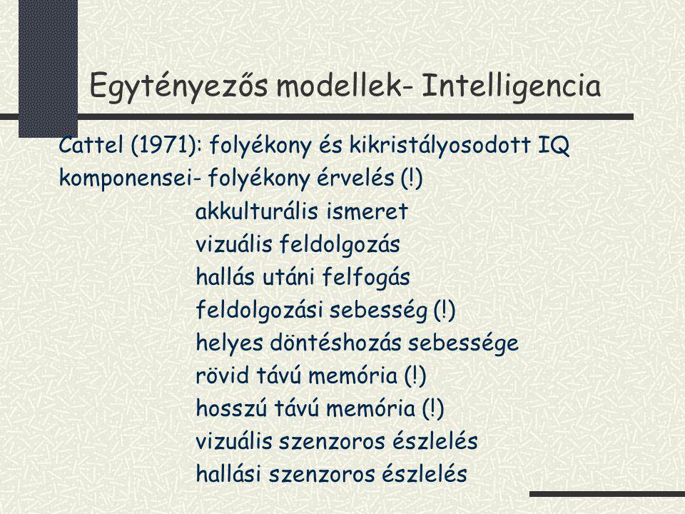 Egytényezős modellek- Intelligencia