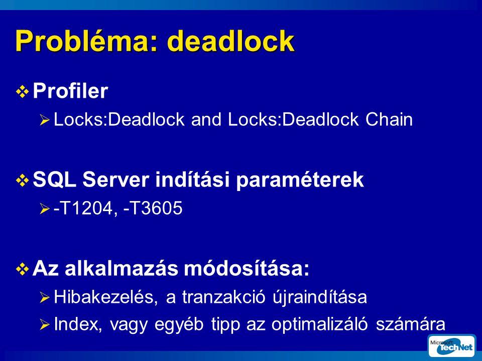 Probléma: deadlock Profiler SQL Server indítási paraméterek