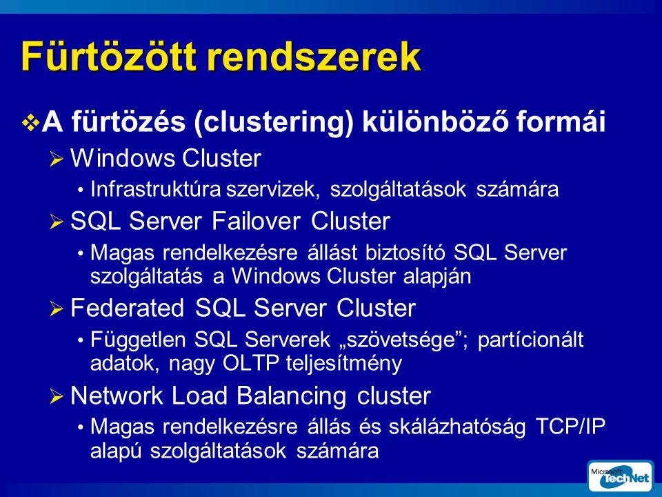 Fürtözött rendszerek A fürtözés (clustering) különböző formái