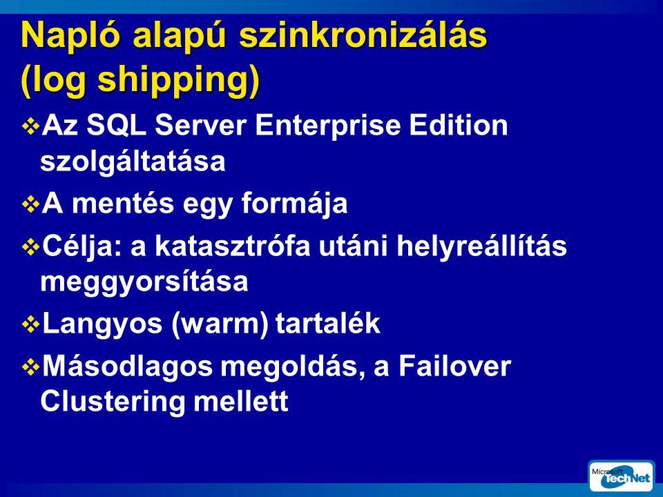 Napló alapú szinkronizálás (log shipping)