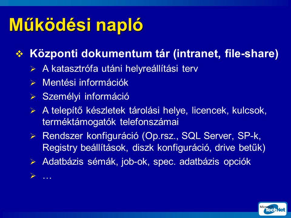 Működési napló Központi dokumentum tár (intranet, file-share)