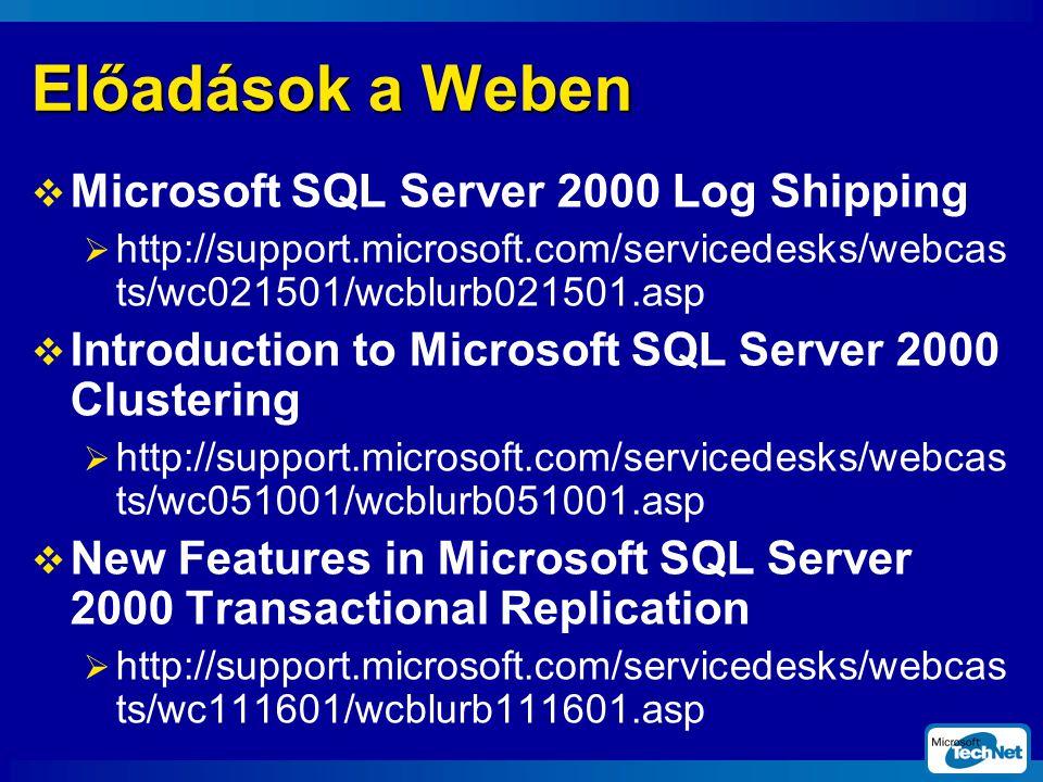 Előadások a Weben Microsoft SQL Server 2000 Log Shipping