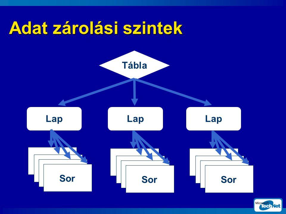 Adat zárolási szintek Tábla Lap Lap Lap Sor Sor Sor SQL Server 2000