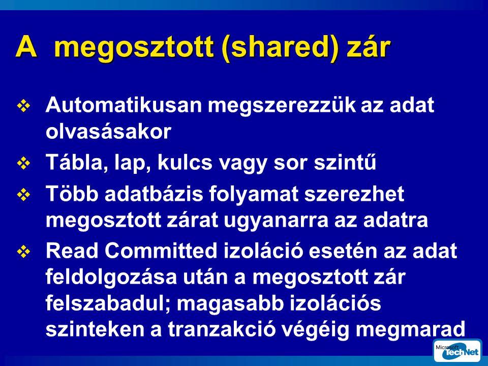 A megosztott (shared) zár