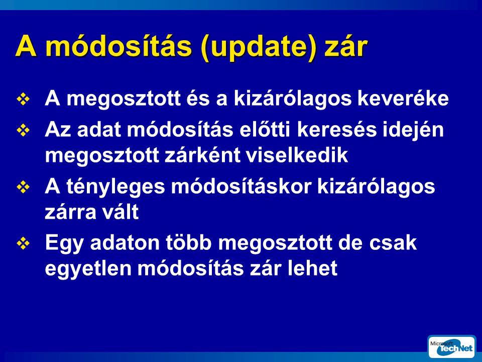 A módosítás (update) zár