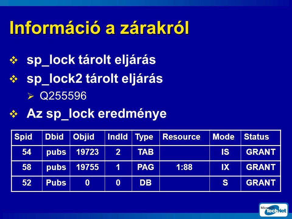 Információ a zárakról sp_lock tárolt eljárás sp_lock2 tárolt eljárás