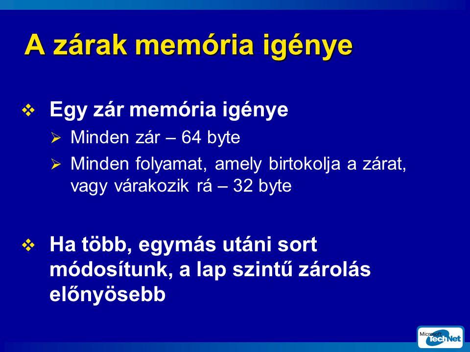 A zárak memória igénye Egy zár memória igénye