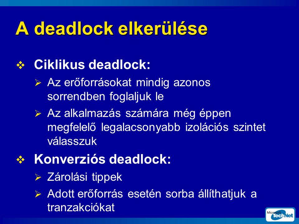 A deadlock elkerülése Ciklikus deadlock: Konverziós deadlock: