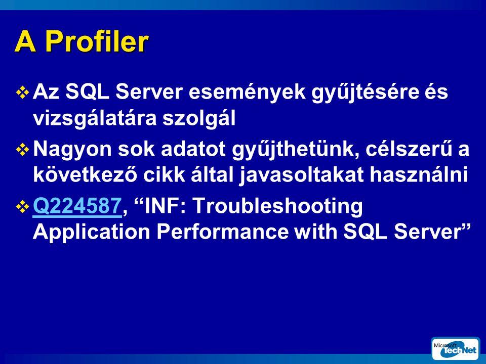 A Profiler Az SQL Server események gyűjtésére és vizsgálatára szolgál