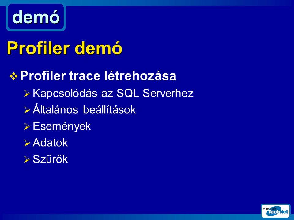 demó Profiler demó Profiler trace létrehozása