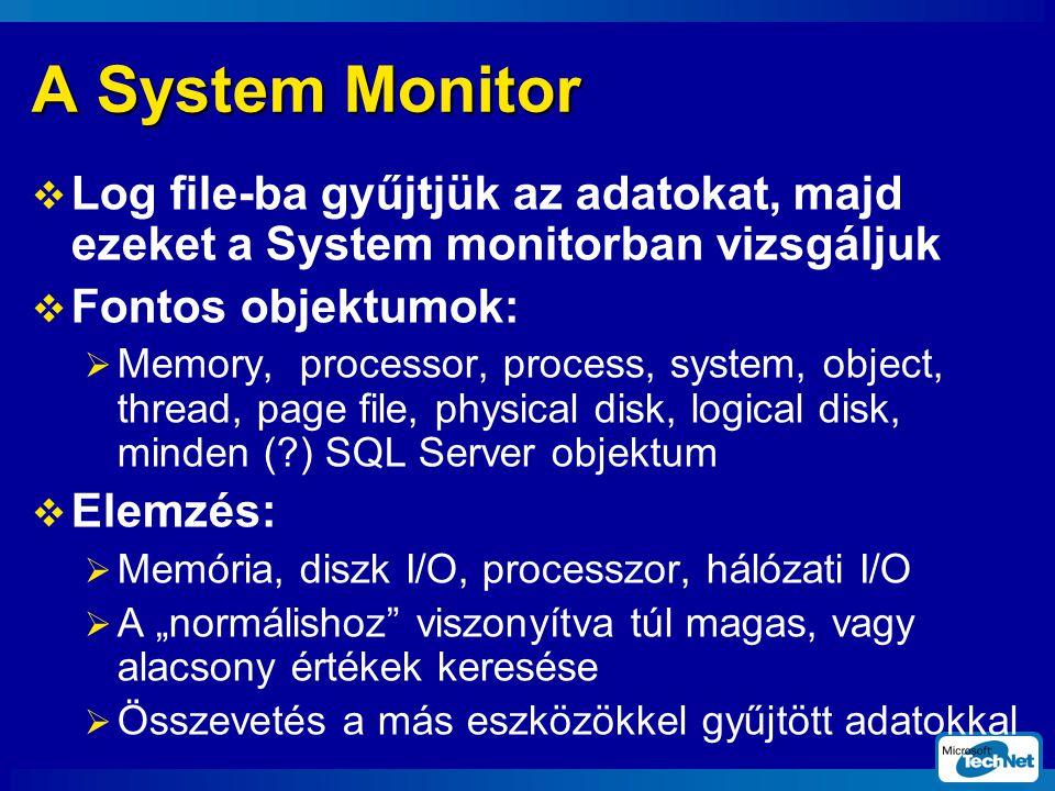 SQL Server 2000 2002. február 20. A System Monitor. Log file-ba gyűjtjük az adatokat, majd ezeket a System monitorban vizsgáljuk.