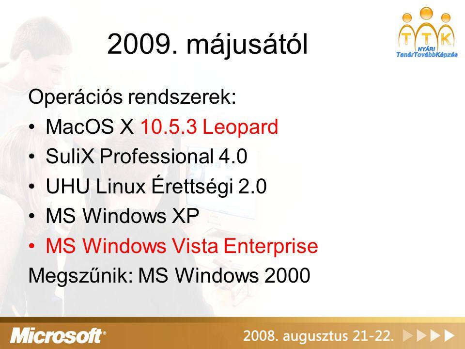 2009. májusától Operációs rendszerek: MacOS X 10.5.3 Leopard