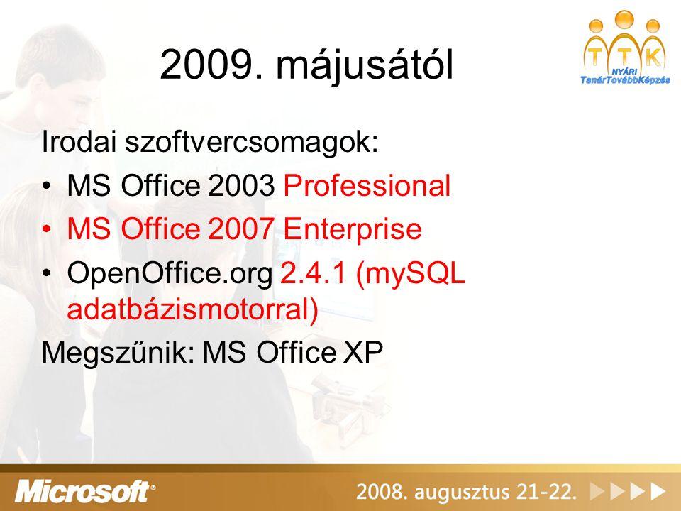 2009. májusától Irodai szoftvercsomagok: MS Office 2003 Professional