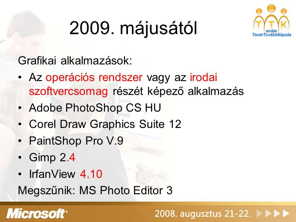 2009. májusától Grafikai alkalmazások:
